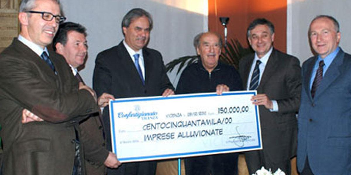 2010 – 150 mila euro di solidarietà da Confartigianato Vicenza alle aziende colpite dall'alluvione di novembre