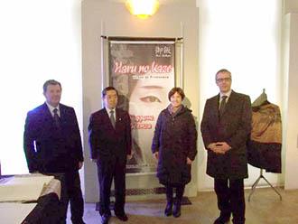 Il console giapponese Shigemi Jomori con Giuseppe Sbalchiero e l'assessore Tommaso Ruggeri