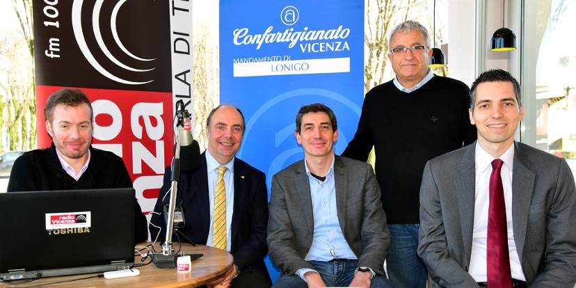 Il conduttore Francesco Ballico con Luca Restello, Dino Magnabosco, Luigino Bari, Roberto Castiglion