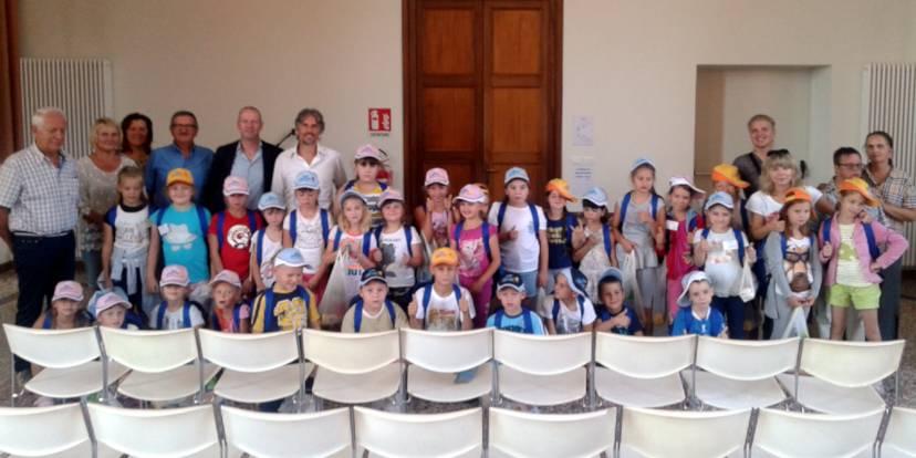 Il gruppo di bambini appena arrivato ad Arzignano