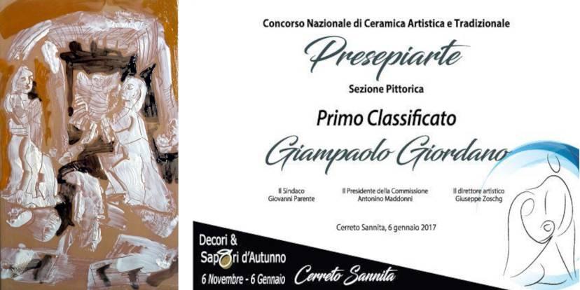 L'opera vincitrice di Giordano Giampaolo e l'attestato