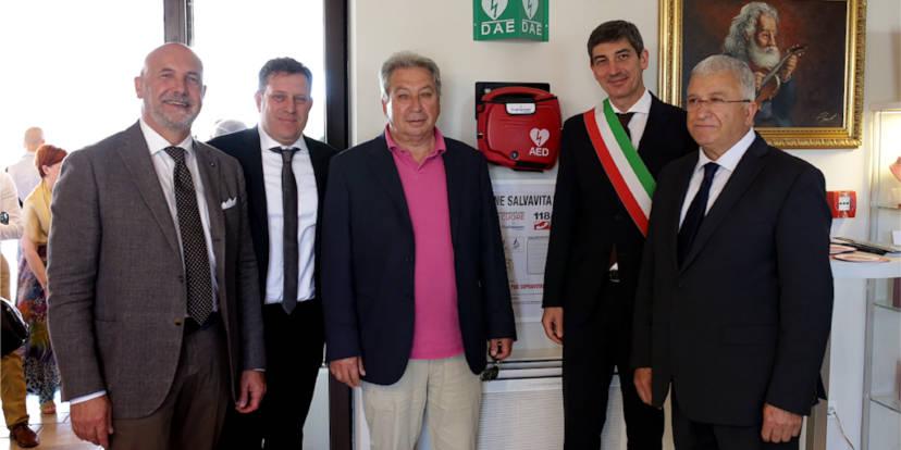Gianluca Cavion (vicepresidente provinciale di Confartigianato Vicenza), Stefano Valente (delegato comunale), Giordano Malfermo (titolare Hotel Fracanzana), Dino Magnabosco (sindaco di Montebello) e Luigino Bari (presidente Confartigianato - Mandamento di Lonigo)