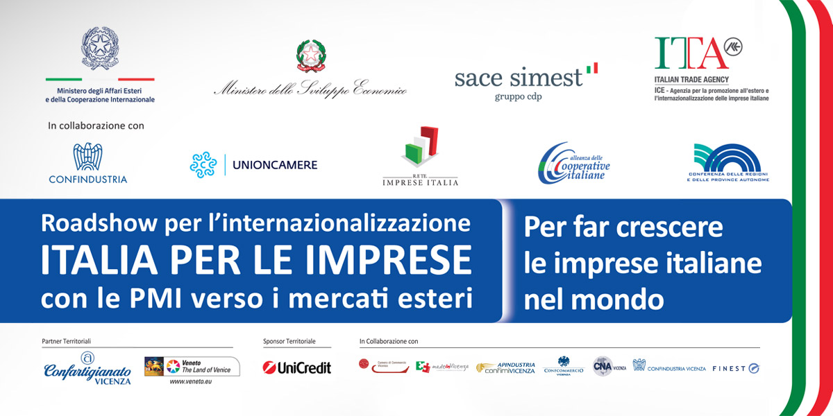 Mercati esteri: mercoledì 4 dicembre a Vicenza il Roadshow di ICE-Agenzia
