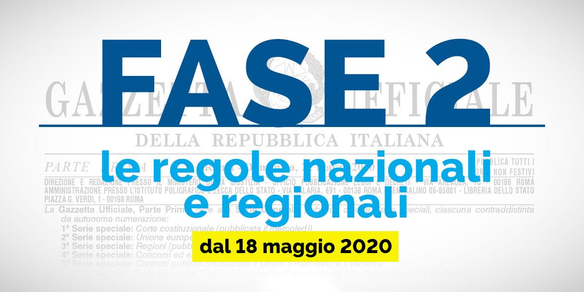 FASE 2: le regole nazionali e regionali dal 18 maggio