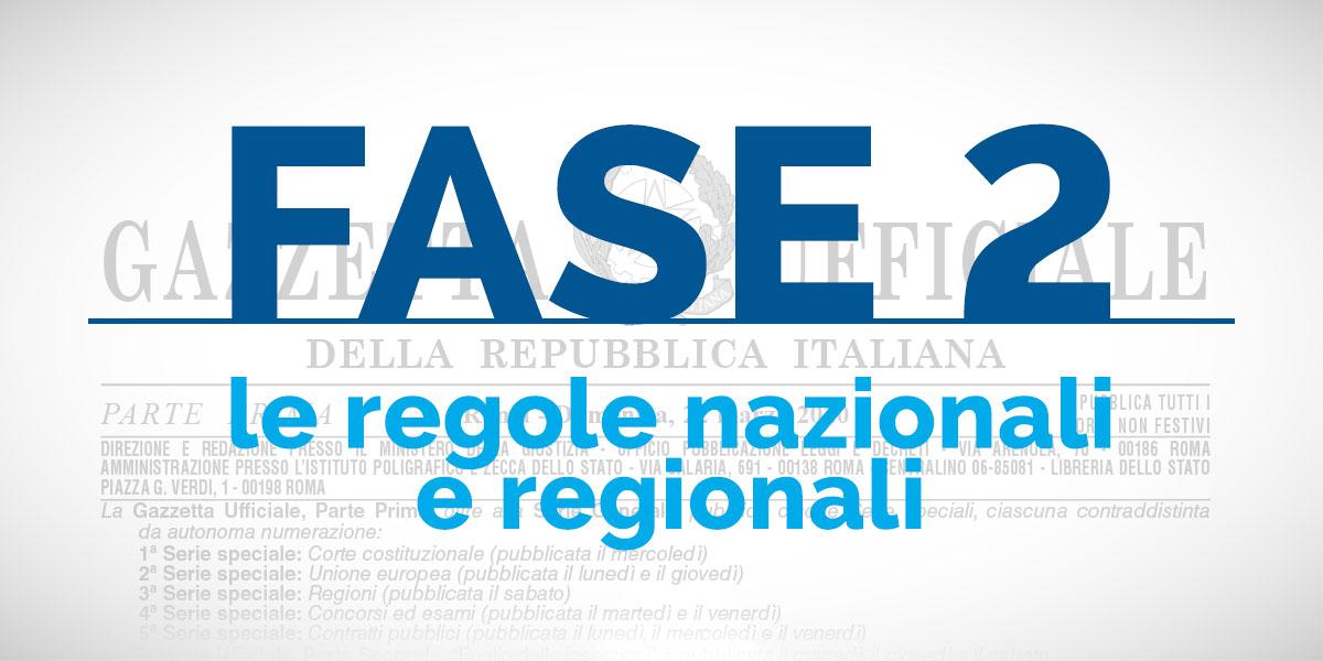 FASE 2: le regole nazionali e regionali